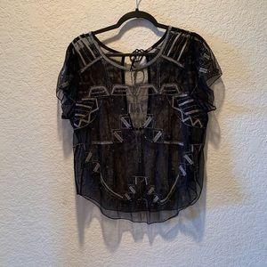 Free People sheer/mesh beaded blouse